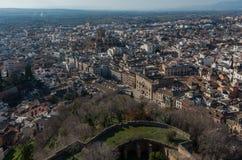 cityscape Opinião do panorama da cidade velha de Granada da torre de Alham Imagem de Stock