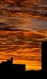 Cityscape orange sky dawn silhouette. Urban landscape orange sky sunrise sunset silhouette of buildings Royalty Free Stock Photography