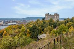 Cityscape of Oslo city with autumn forest in foreground with a b royalty free stock photos