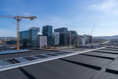 Cityscape of oslo from construction crane ,Norway stock images