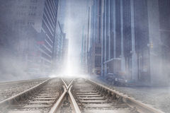 Cityscape over railway tracks Stock Photos