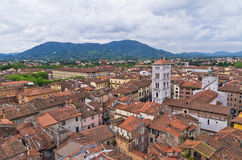 Cityscape over the roofs of Lucca, Tuscany Royalty Free Stock Image