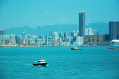 Cityscape. Overlooking buildings and seaside in hongkong Royalty Free Stock Image