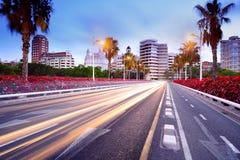 Cityscape på den blåa timmen, Valencia, Spanien Royaltyfri Foto