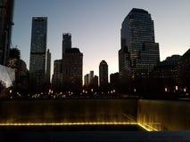 Cityscape på skymning, fäller ned Manhattan New York City arkivfoton