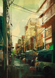 Cityscape painting. Digital painting showing colorful cityscape Royalty Free Stock Photos