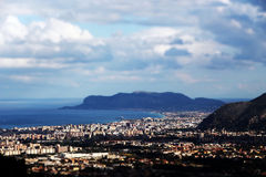 Cityscape of palermo with the gulf, miniature Stock Photo