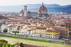 Cityscape panorama of Arno river, towers and cathedrals of Florence Stock Images