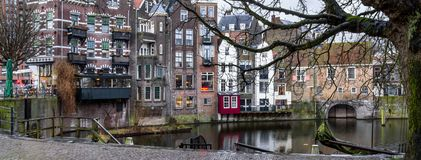 Cityscape, panorama, banner - view of the city Rotterdam and its old district Delfshaven Royalty Free Stock Image
