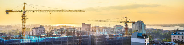 Cityscape panorama of building construction. Yangon, Myanmar Royalty Free Stock Image