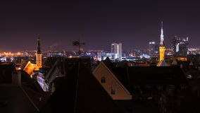 Cityscape panorama of old Tallinn at night Stock Images