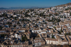 Cityscape. Panorama view of Granada old city from tower of Alham Royalty Free Stock Image