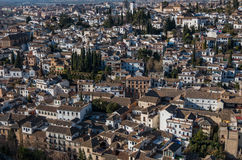 Cityscape. Panorama view of Granada old city from tower of Alham Stock Photo