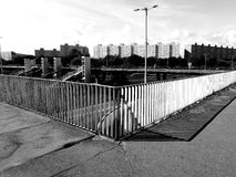 Cityscape panoramic view. Artistic look in black and white. Stock Photography