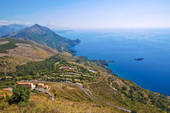 Cityscape. Panoramic view of Maratea. Basilicata. Italy. royalty free stock image
