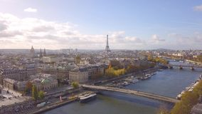 Cityscape of Paris. Aerial view of city center stock footage