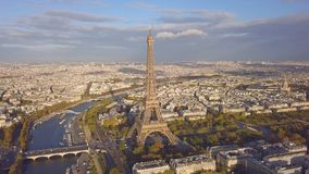 Cityscape of Paris. Aerial view of Eiffel tower stock video footage