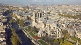 Cityscape of Paris. Aerial view of Notre Dame de Paris Cathedral stock video footage