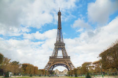 Cityscape of Paris with the Eiffel tower. On a sunny day Royalty Free Stock Image