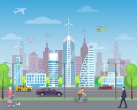 Cityscape with Passers-by and Tall Skyscrapers. Modern city landscape with busy passers-by, tall futuristic skyscrapers, aircrafts in sky and highway with fast Royalty Free Stock Images