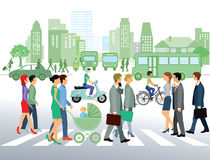 Cityscape with pedestrians Stock Images
