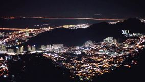 Cityscape Penang downtown at night, from the top of view on skyscraper, show lighting on the road of communication stock video