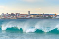 Cityscape  Peniche ocean town Portugal. Cityscape of Peniche - coastal town in Portugal. Atlantic ocean in the foreground stock photography