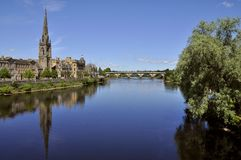 Cityscape of Perth Scotland UK. With the River Tay in the foreground - Picture by Jonathan Mitchell/Atlas Photo Archive Stock Photography
