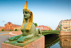Cityscape of  Petersburg, the bridge and the Sphinx Stock Image
