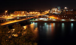Cityscape photo of Grand Rapids, MI. Night scene of downtown Grand Rapids, Michigan looking over the Grand River Royalty Free Stock Photography