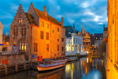 Cityscape with the picturesque night canal Dijver Royalty Free Stock Photo