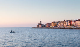 Cityscape of Piran at sunset, Slovenia, Europe Stock Image