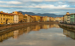 Cityscape of Pisa, view of  River Arno, Tuscany, Italy Stock Photo