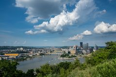 Cityscape of Pittsburgh from Mt Washington overlook royalty free stock photo