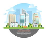 Cityscape with a place for text - modern vector illustration Royalty Free Stock Photos