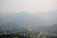 Cityscape of Pokhara look at on World Peace Pagoda Royalty Free Stock Images