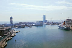 Cityscape of The Port of Barcelona Stock Photos