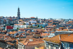 Cityscape of Porto and the Clerigos Church belltower. Stock Images