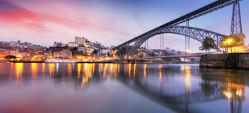 Cityscape of Porto Oporto old town, Portugal. Valley of the Douro River. Panorama of the famous Portuguese city royalty free stock photography