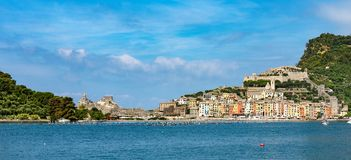 Cityscape of Portovenere - Liguria Italy. Cityscape of Portovenere or Porto Venere UNESCO world heritage site, seen from the Golfo dei Poeti Gulf of poets or Stock Images