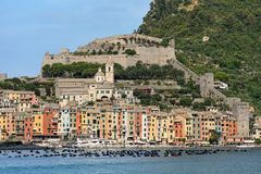 Cityscape of Portovenere - Liguria Italy. Cityscape of Portovenere or Porto Venere UNESCO world heritage site, seen from the Golfo dei Poeti Gulf of poets or Royalty Free Stock Photos
