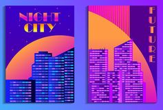 Cityscape poster in futurism style. Night city of skyscrapers. Cyberpunk and retrowave. Vector. Illustration stock illustration