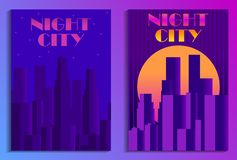 Cityscape poster in futurism style. Night city of skyscrapers. Cyberpunk and retrowave. Vector. Illustration royalty free illustration