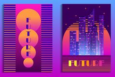 Cityscape poster in futurism style. Night city of skyscrapers. Cyberpunk and retrowave. Vector. Illustration vector illustration