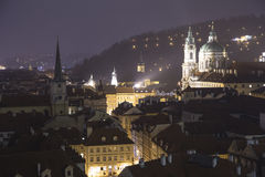 Cityscape of Prague from above(Night view ), Czech Republic Stock Photo