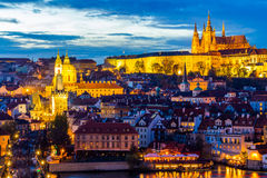 Cityscape of Prague with Castle at night, Czech Republic stock photos