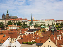 Cityscape of Prague with cathedral Saint Vitus and royal castle Hradschin Royalty Free Stock Photos