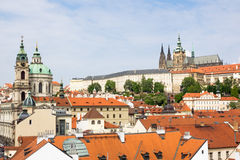 Cityscape of Prague with cathedral Saint Vitus, royal castle Hradschin and church Saint Nicholas Royalty Free Stock Photo