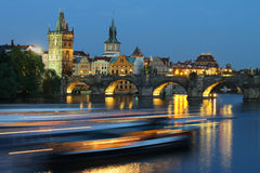 Cityscape of Prague with Charles bridge in the evening stock images