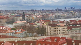 Cityscape of Prague with Charles bridge stock video footage